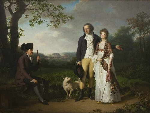 Niels Ryberg with his Son Johan Christian and his Daughter in Law Engelke nee Falbe | Jens Juel | oil painting