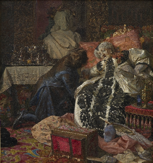 The Death of Queen Sophie Amalie | Kristian Zahrtmann | oil painting