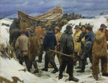 The Lifeboat is Taken through the Dunes | Michael Ancher | oil painting