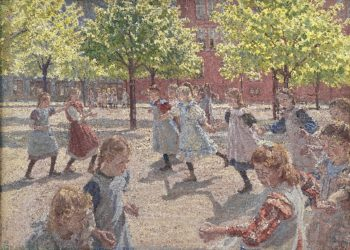 Playing Children Enghave Square | Peter Hansen | oil painting
