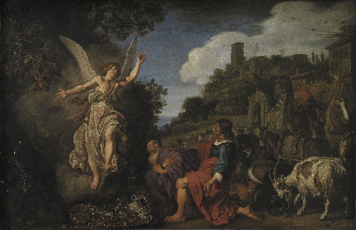 The Angel Raphael Takes Leave of Old Tobit and his Son Tobias | Pieter Lastman | oil painting