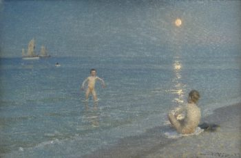 Boys Bathing at Skagen Summer Evening | PS Kroyer | oil painting