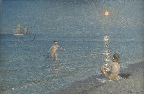 Boys Bathing at Skagen Summer Evening | PS Kroyer | oil painting