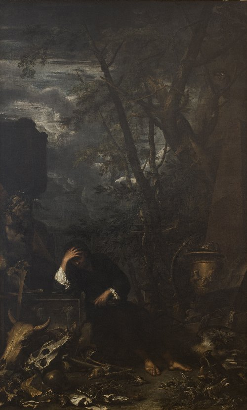 Democritus in Meditation | Salvator Rosa | oil painting