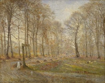 Late Autumn Day in the Jaegersborg Deer Park North of Copenhagen | Theodor Philipsen | oil painting