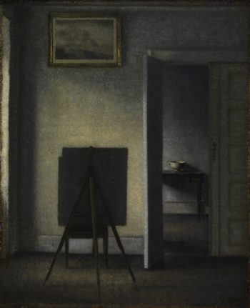Interior with the Artists Easel | Vilhelm Hammershoi | oil painting