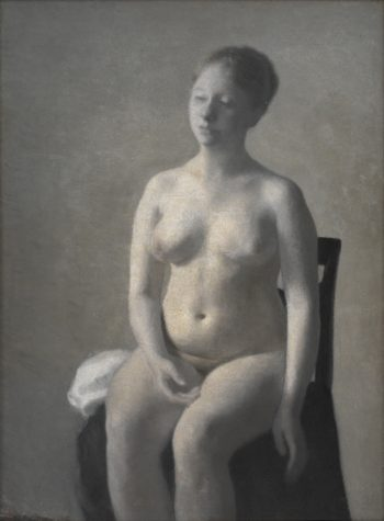 Seated Female Nude | Vilhelm Hammershoi | oil painting