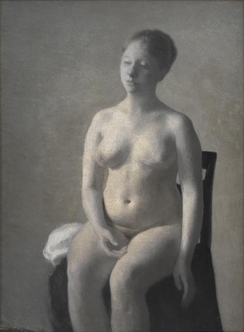 Seated Female Nude   Vilhelm Hammershoi   oil painting