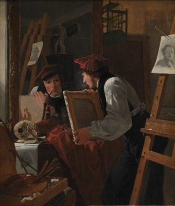 A Young Artist (Ditlev Blunck) Examining a Sketch in a Mirror | Wilhelm Bendz | oil painting