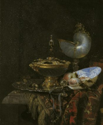 Pronk Still Life with Holbein Bowl Nautilus Cup Glass Goblet and Fruit Dish | Willem Kalf | oil painting