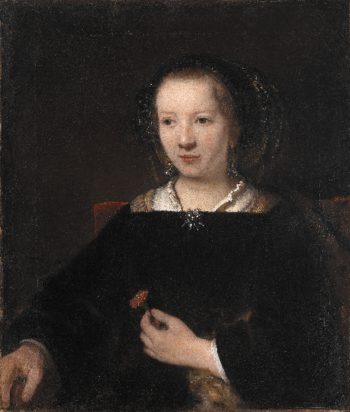 Young Woman with a Carnation | Workshop of Rembrandt van Rijn | oil painting
