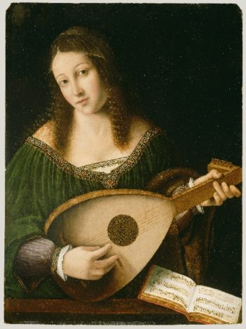 Lady Playing a Lute | Bartolomeo Veneto | oil painting