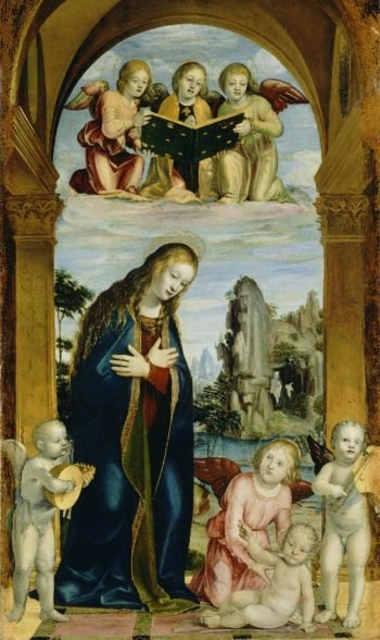 Madonna Adoring the Child with Musical Angels | Bernardino Zenale | oil painting