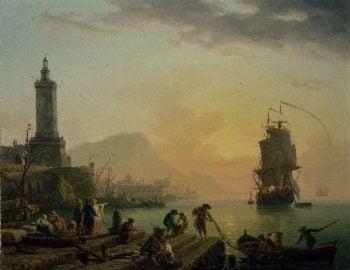 A Calm at a Mediterranean Port | Claude Joseph Vernet | oil painting