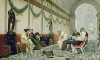 Interior of Roman Building with Figures | Ettore Forti | oil painting