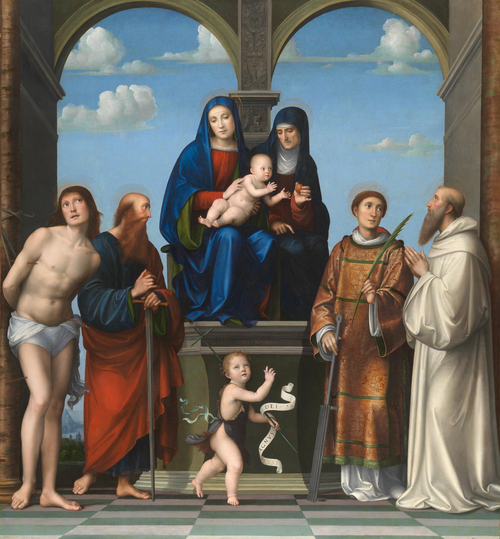The Virgin and Child with Saint Anne and Other Saints | Francesco Francia | oil painting