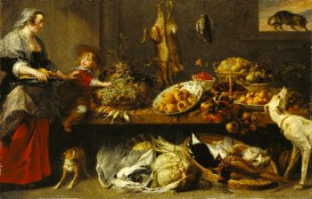 Kitchen Still Life with a Maid and Young Boy | Frans Snyders | oil painting