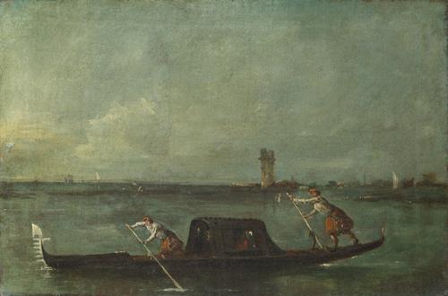 A Gondola on the Lagoon near Mestre   Francesco Guardi   oil painting