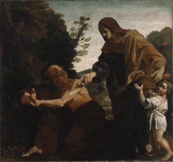 Elijah Receiving Bread from the Widow of Zarephath | Giovanni Lanfranco | oil painting