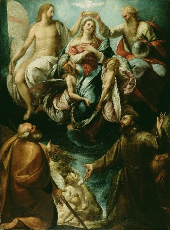 Coronation of the Virgin with Saints Joseph and Francis of Assisi | Giulio Cesare Procaccini | oil painting