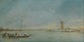 View of the Venetian Lagoon with the Tower of Malghera | Francesco Guardi | oil painting