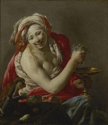 Bacchante with an Ape | Hendrick ter Brugghen | oil painting