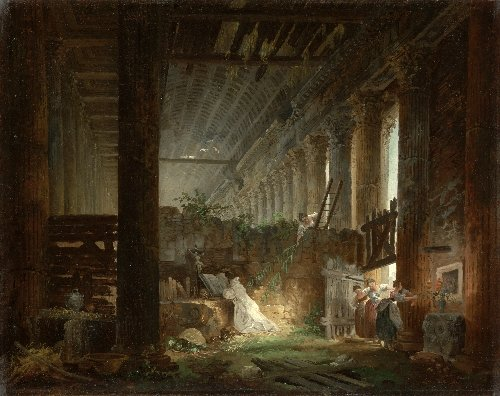 A Hermit Praying in the Ruins of a Roman Temple | Hubert Robert | oil painting