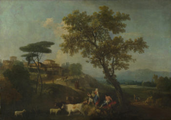 Landscape with Cattle and Figures   Francesco Zuccarelli   oil painting