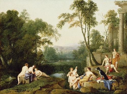 Diana and Her Nymphs in a Landscape   Laurent de La Hyre   oil painting