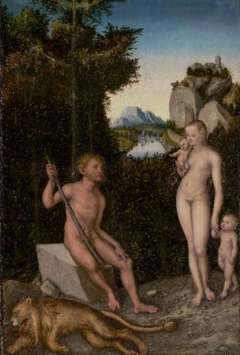 A Faun and His Family with a Slain Lion | Lucas Cranach the Elder | oil painting