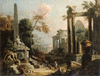 Landscape with Classical Ruins and Figures | Marco Ricci | oil painting