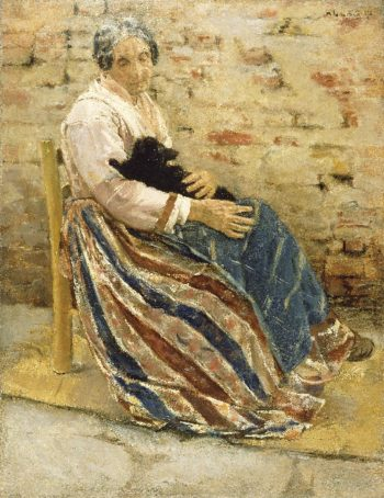 An Old Woman with Cat | Max Liebermann | oil painting