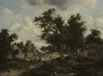 A Wooded Landscape with Travelers on a Path through a Hamlet | Meindert Hobbema and Abraham Storck | oil painting