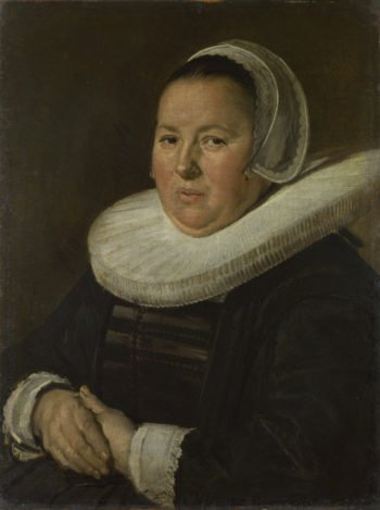 Portrait of a Middle-Aged Woman with Hands Folded   Frans Hals   oil painting