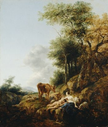 Landscape with a Nymph and a Satyr | Nicolaes Berchem | oil painting