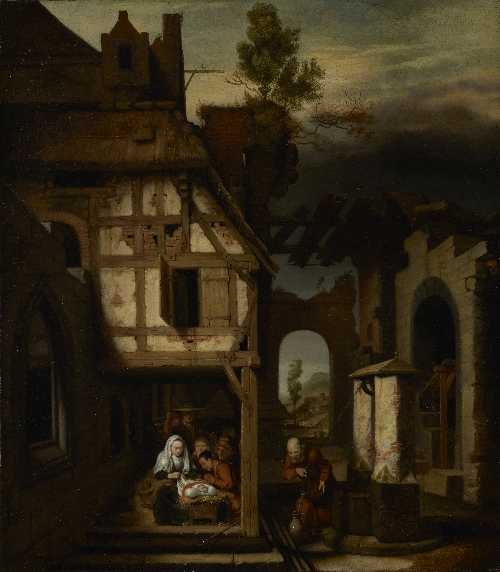 Adoration of the Shepherds   Nicolaes Maes   oil painting