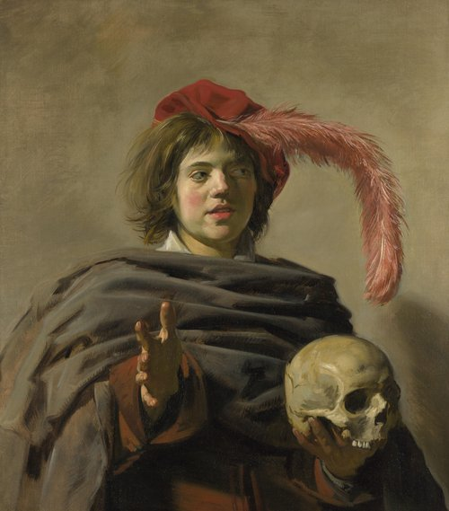 Young Man holding a Skull (Vanitas) | Frans Hals | oil painting