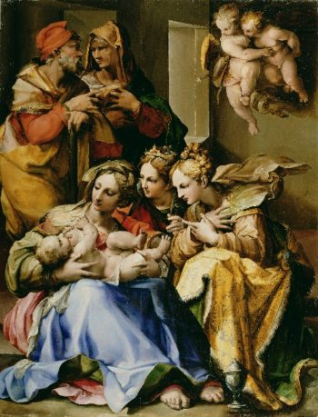 Holy Family with Saints Anne Catherine of Alexandria and Mary Magdalene | Nosadella | oil painting