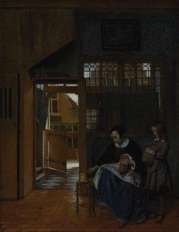 A Woman Preparing Bread and Butter for a Boy | Pieter de Hooch | oil painting