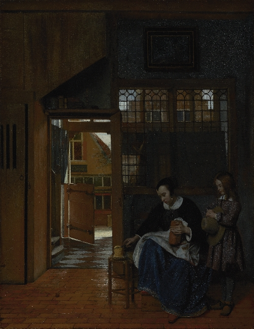 A Woman Preparing Bread and Butter for a Boy | Pieter de Hooch | oil painting