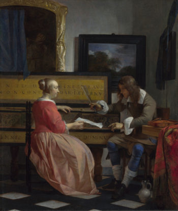 A Man and a Woman seated by a Virginal | Gabriel Metsu | oil painting