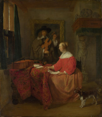 A Woman seated at a Table and a Man tuning a Violin | Gabriel Metsu | oil painting