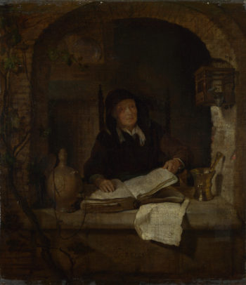 An Old Woman with a Book   Gabriel Metsu   oil painting
