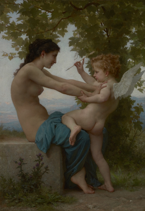 A Young Girl Defending Herself against Eros | William Adolphe Bouguereau | oil painting