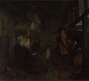 The Interior of a Smithy   Gabriel Metsu   oil painting