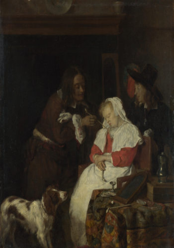 Two Men with a Sleeping Woman | Gabriel Metsu | oil painting