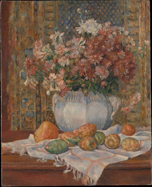 Still Life with Flowers and Prickly Pears (ca 1885) | Pierre Auguste Renoir | oil painting