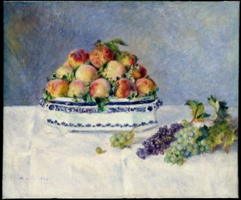Still Life with Peaches and Grapes (1881) | Pierre Auguste Renoir | oil painting