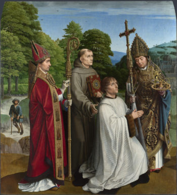 Canon Bernardijn Salviati and Three Saints | Gerard David | oil painting