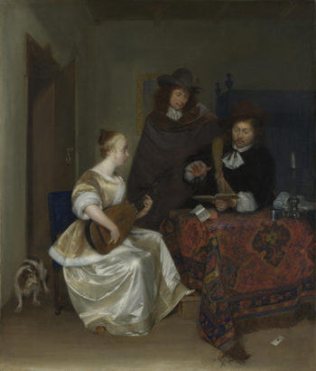 A Woman playing a Theorbo to Two Men | Gerard ter Borch | oil painting